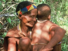 Botswana san woman with child